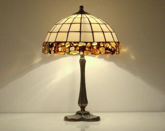 """Table lamp. Bedside lamp. Desk lamp. 10"""" lampshade made of stained glass and natural Baltic amber. Stained glass lamp. Tiffany table lamp."""