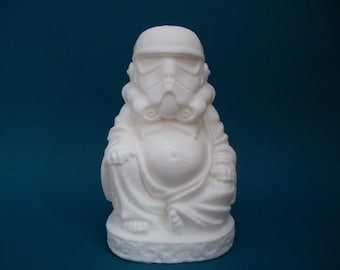 Storm Trooper Buddha, solid resin. In stock teady to ship.  Buddha trooper on sale till sunday.