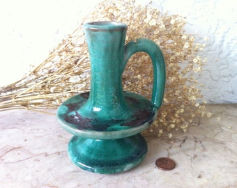 Vintage Art Pottery, Green COLE POTTERY Candle Holder, Hand Made American Art Pottery Seagrove North Carolina Pottery
