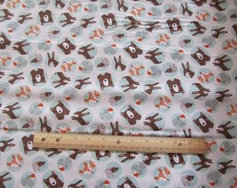 White  Woodland Animal Faces/Fox/Possum/Squirrel/Bear Cotton Fabric by the Yard