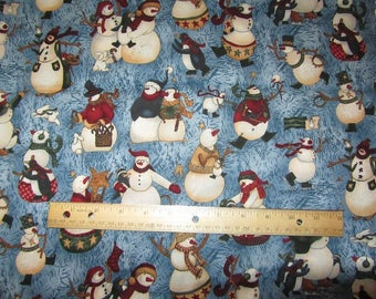 Blue with Multicolored Snowmen Fabric by the Yard