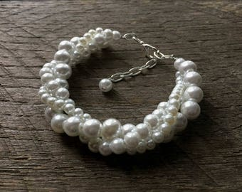 White Pearl Bracelet Bridal Bracelet Twisted Clusters on Silver Chain