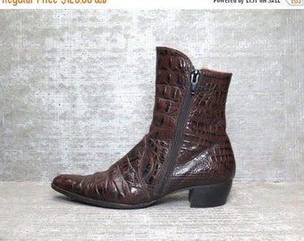 35% OFF Vtg 90s Brown Leather Crocodile Charles Jourdan Ankle Boots 6