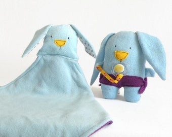 Unique Baby Shower Gift: A Set of Bunny Blankie and Bunny Plush, Blue Plush Security Blanket, Blue Baby Rabbit Plush Toy, Bunny Plushie Toy