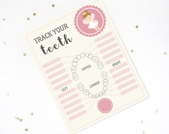 Tooth Fairy Lost Tooth Chart - Track Your Teeth Chart - Official Tooth Fairy Printable - Instant Download and Edit with Adobe Reader