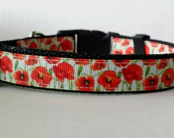 Floral Dog Collar - Adjustable Dog Collar - Poppy Collar, Flower Collar - 3/4""