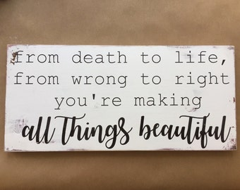 All things beautiful, 9x20, ready to hang