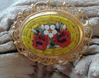 Vintage Micro Mosaic Pin Brooch