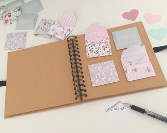 Wedding guest book | mini envelopes | rustic wedding | shabby chic wedding | wedding scrapbook | baby shower guest book | vintage floral |