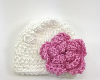 Crochet premie baby girl hat, baby girl hat, premie hat, baby hat with flower