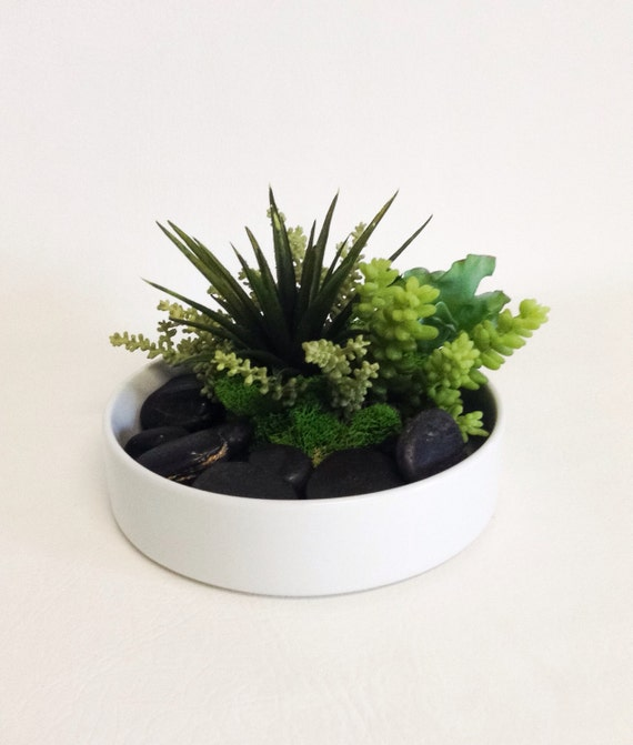 Succulent Dish Garden / White Bowl / Faux / Artificial / Succulent Arrangement