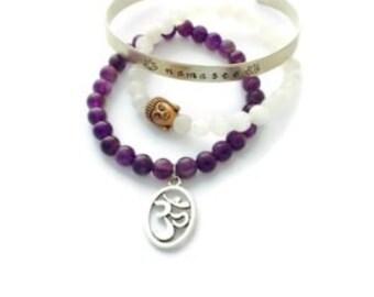 Namaste Yoga Bracelet Stack - Amethyst Om Bracelet - Moonstone Buddha -Yoga Healing Bracelet - Namaste - Crown Chakra 3rd Eye Chakra  Mala