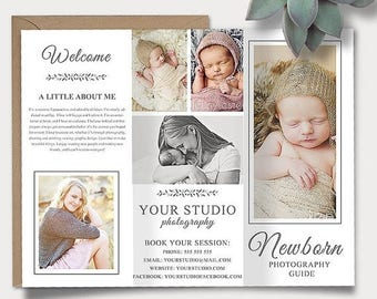 ON SALE Newborn Photography Guide Template, Trifold Brochure Photoshop Template, Client Welcome Guide, Flyer,  Pricing Guide, Price List sku