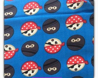 Cotton Jersey fabric blue pirate / Ninja, 50 cm