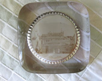 Glass Paperweight-Souvenir- Hotel Chamberlin, Old Point Comfort, Virginia