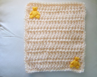 Crocheted Peach Pastel Mini Blanket for your Dolls/OOAK