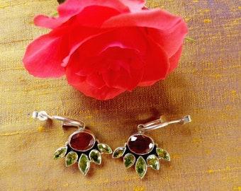 Silver gemstone earrings, amethyst and peridot, purple and green 925 silver earrings, deep purple amethyst, silver drop earrings, gift box