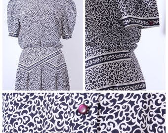 Vintage Navy White Print Dress, Day Dress by Maggie Boutique, Navy and White dress