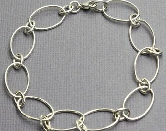 Oval Round Chain Bracelet, Sterling Silver Chain Bracelets, Sterling Silver Bracelets, Chain Bracelets, Link Bracelet, Kathy Bankston