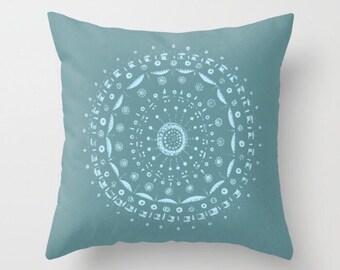 Blue Mandala Throw Pillow Cover, blue mandala pillow, mandala pillow, boho pillow, bohemian pillow, mandala cushion, blue throw pillow