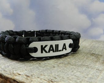 Your Name Bracelet for Boys or Girls - Kids Personalized Paracord Bracelet - Handmade in USA