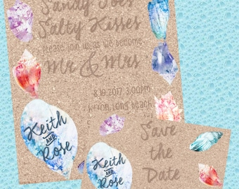 Sand and shells wedding/event invitation & RSVP/Save the Date card DIGITAL FILE