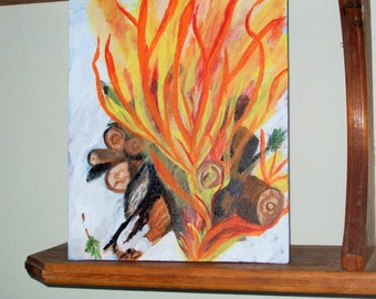 Winter Fire Acrylic Painting