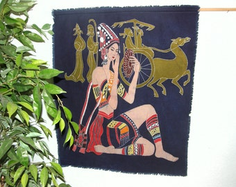 Chinese Lady and Xian Figures, Horse and Carriage - Vintage Chinese Batik made into a wall hanging -- Batik made in Guizhou Province