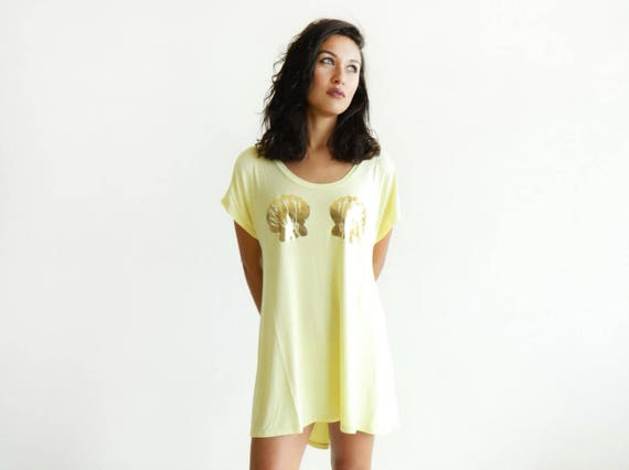 Butter Yellow Mermaid High-Low TShirt Dress / More Colors! / Tunic / Long Tee / Gold Foil Seashells / Sleep Shirt / Beach Dress / Clamshells