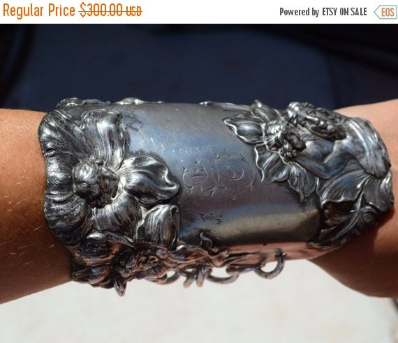 SALE 40% OFF Antique Silver Goddess Nymph Flowers Petunia Floral Repousse Wide Cuff Bracelet Bracer Chivalry Spartan Gladiator Medieval Art
