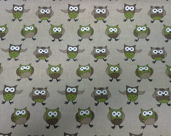 LINEN Curtain panel natural beige green birds Owls Kids Room Decor Cafe curtain Kitchen valance , runner , napkins available, great GIFT