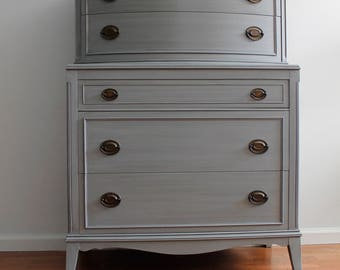 SOLD****Grey Tall Dresser/Chest of Drawers/Bureau