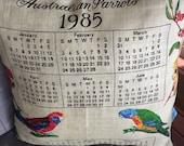 Vintage retro cushion cover 1985 calendar 40 cm x 40 cm Australian parrots