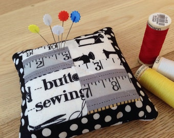 Patchwork pincushion, quilted pincushion, handmade one of a kind pincushion, modern pincushion, self sharpening pin cushion, gift for sewers