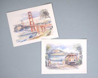 Vintage San Francisco Postcards Set of 2, Cable Car, Golden Gate Bridge, Legai, Made in France