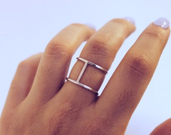 Sterling Silver or Gold-Filled Double Stack Single Bar Ring | Hammered | Simple, Minimalist, Jewelry Staple | Free Shipping on orders 30+