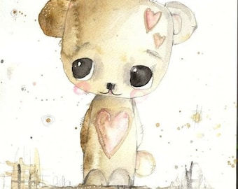 Henry- watercolour painting, teddy bear painting, nursery art, gift, wall art, original watercolor, children's room decor, animal art