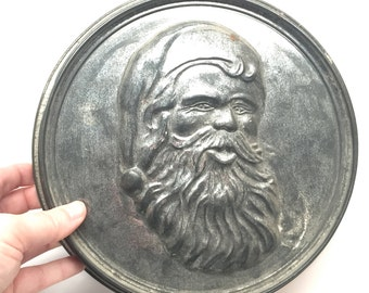 Antique Tin Mold, Santa Clause, Christmas, Embossed,Jello Mold, Decoration, Rustic,Wall Hanging, Kris Kringle, 1940