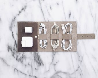 Leather Travel Cord Wrap