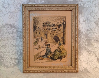 Framed colored etching print Wintertime Frolics signed Wm.Y. Victorian farmhouse romantic shabby cottage chic wall hanging art home decor