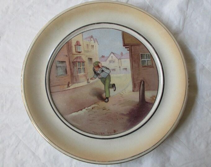 "9-7/8"" Grimwades Dickens Ware Souvenir Wall Plate OLIVER TWIST (1920s Winton)"