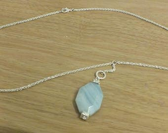 Amazonite and swarovski rondelle drop necklace - Calm, positivity, soothing