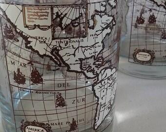 Set of 4 Vintage Americae Nova Tabula Map Beverage Glasses