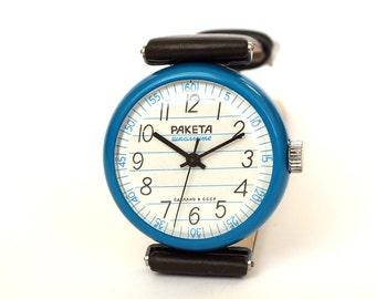 Unisex Watch RAKETA Shool. Vintage Mechanical Wrist Watch 80s. Enamel Case Unisex Watch. Genuine Leather Strap Watch. Gift Idea