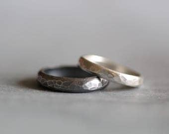 Wedding Band, His and Hers, Sterling Silver, Mens, Womens, Hammered,  Stacking Ring, Wedding Rings, by Mossy Creek