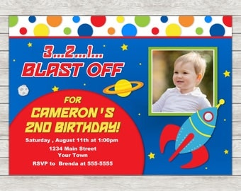 Rocket Birthday Invitation, Astronaut Outer Space Invite  - Printable File or Printed Invitations