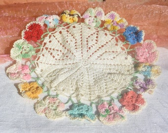 Crochet Doily, Pansy Flower Edge - Multi Color, Hand Made  - Vintage - Beautiful!