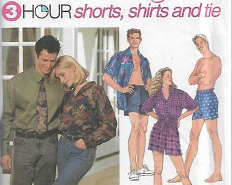 Simplicity 8150 Size Lg-XL Chest 42-44-46-48 3 Hour Boxer Shorts, Shirts and Tie Misses', Men's or Teen Boys' Sewing Pattern 1996 Uncut