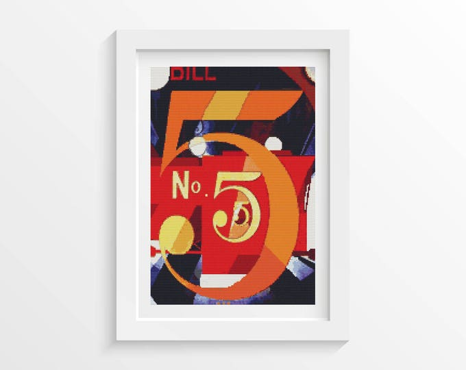 Cross Stitch Pattern PDF, Embroidery Chart, Abstract Art Cross Stitch, A Figure 5 in Gold by Charles Demuth (DEMUT01)