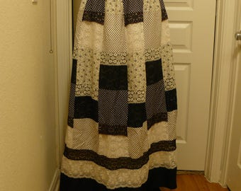 1970s B&W patchwork Maxi Skirt by Tumbleweeds